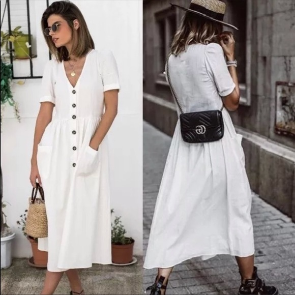 d8d70e43e44 Zara Blogger XS NWT Midi Linen Dress with Buttons